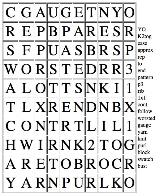 Knitting Pattern Word Search
