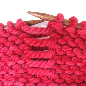 Dropped Garter Stitch Red Yarn