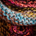 Closeup of multicolor garter stitch in the round