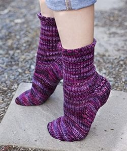 Purple Malabrigo Toe-Up Heel Flap Socks, seen from the top