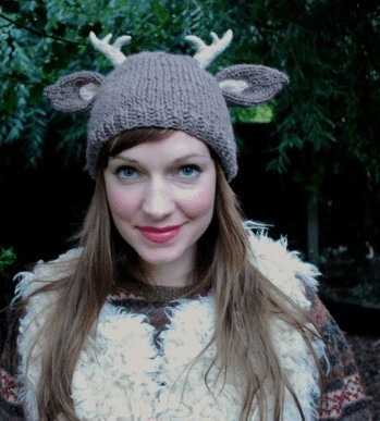 Deer With Little Antlers Hat by Tiny Owl Knits