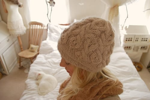 """Parseltongue"" cabled hat"
