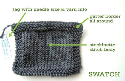 4 inch knit swatch with garter stitch border