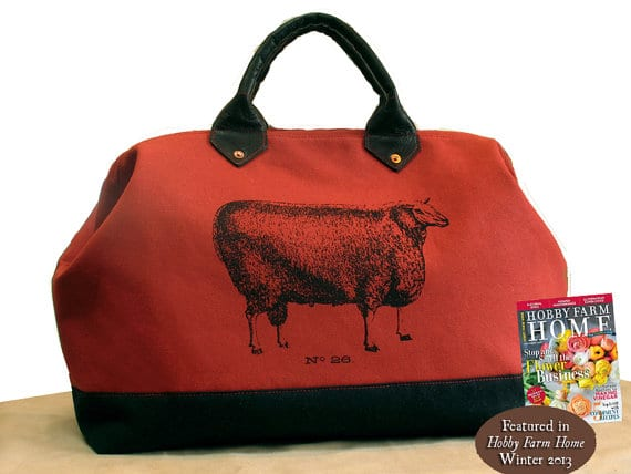 Canvas and Leather Mason Bag, Knitting Tote with Sheep, Extra Large