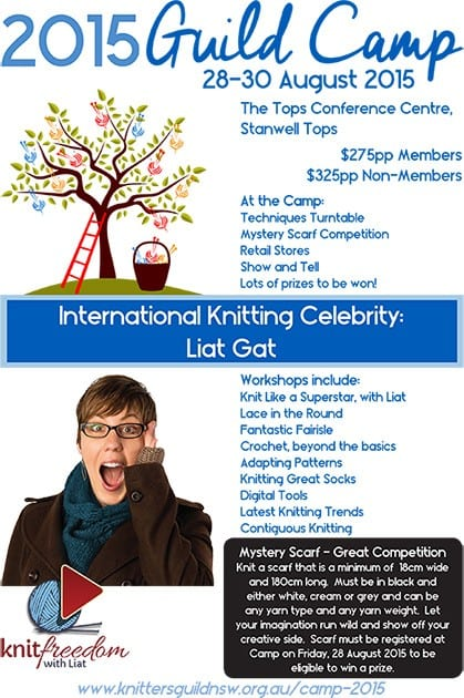 poster for New South Wales Knitting Guild Camp 2015