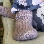 Jeny's Surprisingly Stretchy Bind-Off on Super-Bulky Pink Knit Socks