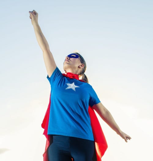 Supergirl image leaping for the stars