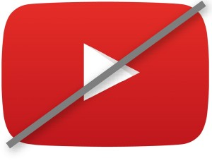 Red YouTube play button crossed out